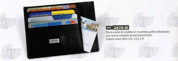 TEMPORA PORTA CARTE DI CREDITO PLUS NR IN PELLE 2670